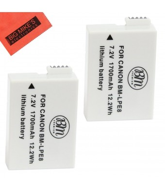 2 Pack Of LP-E8 LPE8 Replacement Batteries Each For Canon Rebel T5i EOS 700D, T4i EOS 650D, T3i EOS 600D, T2i EOS 550D DSLR Digital Camera 2 Batterie