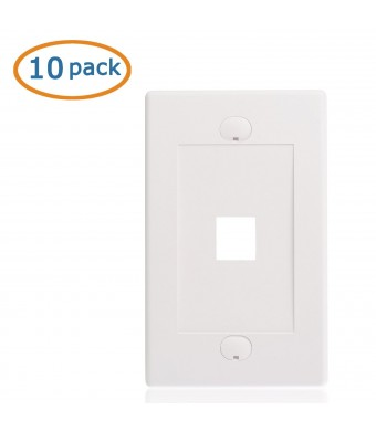 Cable Matters (10 Pack) Wall Plate with 1-Port Keystone Jack Insert in White