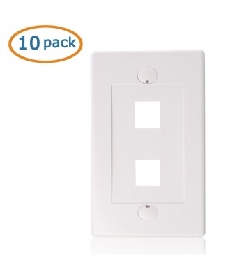 Cable Matters (10 Pack) Wall Plate with 2-Port Keystone Jack in White