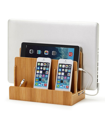 The Original G.U.S. 100% Bamboo Wood Multi-device Charging Station and Dock - Charges all your devices in one place. Compatible with Apple iPhone, iP