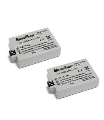 MaximalPower 2Pack Replacement Battery for Canon LP-E5 and EOS Rebel XSi,XS,T1i,EOS 450D,EOS 500D and EOS 1000D Camera