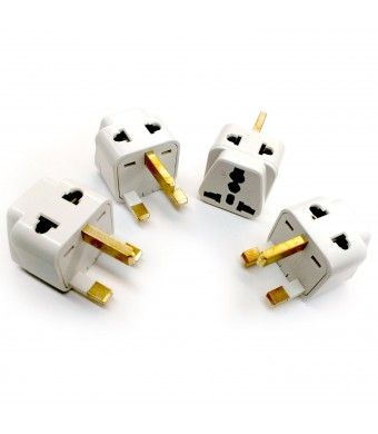 Tmvel TMV-G-2IN1-4PK 2-In-1 Universal to United Kingdom Type G Adapter Plug - 4 Pack