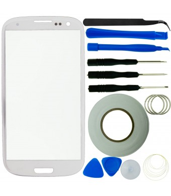 Samsung Galaxy S3 Screen Replacement Kit including 1 Replacement Glass for Samsung Galaxy S3 (Glass only - digitizer not included) / 8 Piece Tool Kit