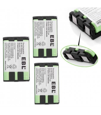 EBL Pack of 3 HHR-P104 Rechargeable Cordless Phone Replacement Batteries for Panasonic HHR-P104 HHR P104, HHR-P104A HHR P104A, 3.6V 900mAh Ni-MH