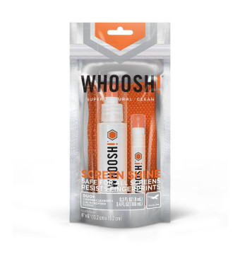 WHOOSH! Screen Shine Duo+ Desk Bottle and Pocket Sprayer and 2 microfiber cloths