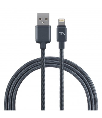 Tech Armor Premium Apple Certified Lightning Cable - 6 Feet- Space Gray - Tough-Braided Extra-Strong Jacket - Sync and Charge iPhone 6, iPhone 6 Plus