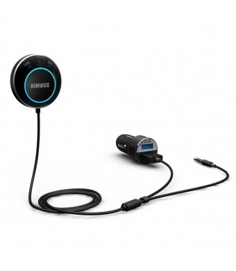 [Wirecutter's Pick] iClever Himbox HB01 Bluetooth 4.0 Hands-Free Car Kit for Cars with 3.5 mm Aux Input Jack, Multi-Point Access, Convenient Siri / V