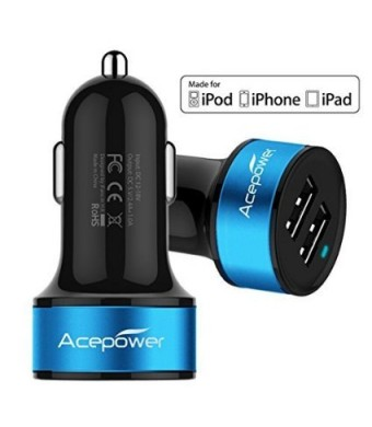 [Certified by Apple - Lifetime Warranty] ACEPower Dual USB Ports 3.4A Portable USB Car Charger for iPhone 5 5S 5C 4 4S,iPad 4 3 2,iPad mini,iPad air