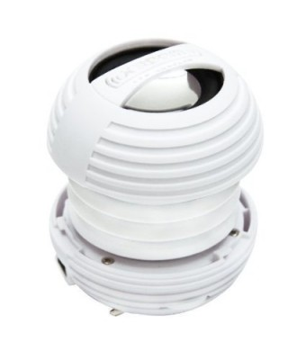XBOOM Mini Portable Capsule Speaker with Rechargeable Battery and Enhanced Bass+ Resonator - White