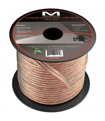 Mediabridge 14AWG Speaker Wire (50 Feet) - Spooled Design with Sequential Foot Markings - (Part# SW-14X2-50-CL )