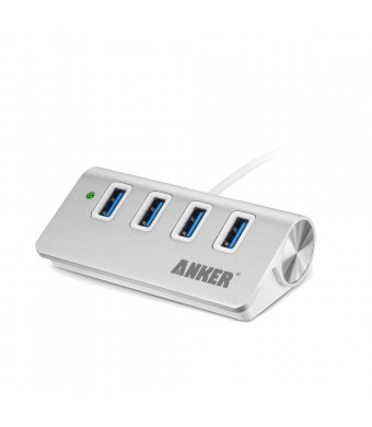 Anker USB 3.0 4-Port Portable Aluminum Hub with 2-Foot USB 3.0 Cable (Silver)