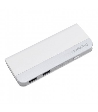 Lumsing 10400mAh Portable Power Bank Dual USB External Battery Charger for iPhone iPad Samsung Galaxy Android Phone Smartphone Tablet Bluetooth Speak