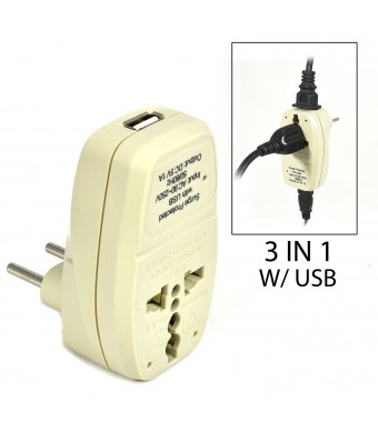 OREI 3 in 1 Continental Europe Travel Adapter Plug with USB and Surge Protection - Type C - Turkey, Italy and More