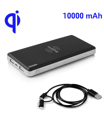 MobilePal™ Gen-2 10000mAh Qi Wireless Power Bank / Qi Wireless Charger with Rechargeable Battery and 2-in-1 Cable [2A Input / 1A Wireless Output / Du