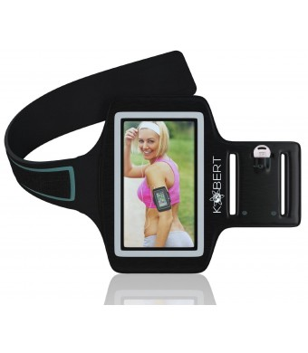 KOBERT SPORTS ARMBAND - Protect Your Phone when doing Sport - 2 Variable Settings (Arms 9.5-15.5 in). FREE EBOOK with every purchase. Key Pouch for g