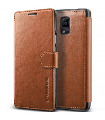 Galaxy Note 4 Case, Verus [Special Edition] Samsung Galaxy Note 4 Wallet Case [Layered Dandy Diary][Brown]