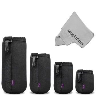 (4 Pack) Altura Photo Thick Protective Neoprene Pouch Set for DSLR Camera Lens (Canon, Nikon, Pentax, Sony, Olympus, Panasonic) - Includes: Small, Me