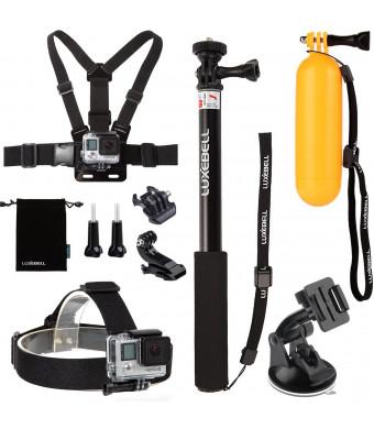 Luxebell 8-in-1 Essentials Accessories Kit for Gopro Hero4 Silver/black,hero3+,hero3,hero2 and Hero Camera, Extendable Handheld Selfie Monopod/pole +