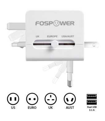 FosPower FUSE World-Wide Universal AC International Adapter Travel Charger with Dual [3.1A] USB Charging Ports (US UK EU AU) - White
