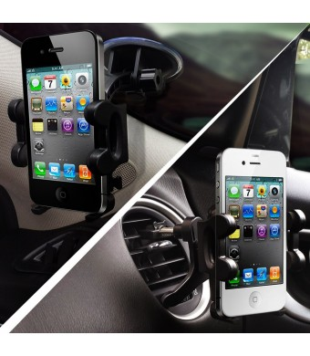 2-in-1 Mobile Phone Car Mount, Holder, Cradle - Universal Fit - Secure Cell Phone/GPS to Windshield or Air Vent in Vehicle - Installs in Seconds - Pa