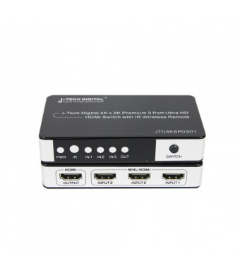 J-Tech Digital JTD4KSP0301 Premium Quality 3 Ports 4K x 2K HDMI 3x1 Powered Switch with IR Wireless Remote and Power Adapter
