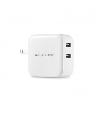 RAVPower 24W/ 2.4A per port Foldable Plug Dual USB Travel Charger / Wall Charger iSmart for iPhone 6 plus, 6, 5s, 5c, 5; Samsung Galaxy S5, S4, S3, N