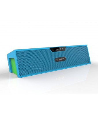 Soundance Portable Bluetooth Stereo Speaker with Dual Speakers and Enhanced Bass Resonator, FM Radio, Built-in Mic, LED Display, Alarm clock, 3.5 mm