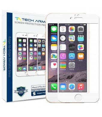 Tech Armor Apple iPhone 6 Plus Premium Edge to Edge HD Clear Ballistic Glass Screen Protector (White) - Protect Your Screen from Scratches and Drops