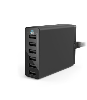 Anker 60W 6-Port Family-Sized Desktop USB Charger with PowerIQ Technology for iPhone, iPad, Samsung S6 / S6 Edge, Nexus, HTC M9, Nokia, Motorola and
