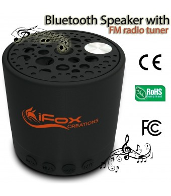 iFox Creations Bluetooth Speaker IF010 - Best Spec With 5 Functions; Wireless, TF Card, FM Radio Tuner, AUX and Speakerphone All In One Superb Speake