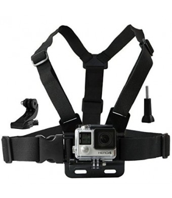 CamKix Chest Mount Harness for GoPro - Adjustable Chest Strap Compatible with GoPro Hero4, Hero3+, Hero3, Hero2, and Hero Camera - Also Includes 1 J-
