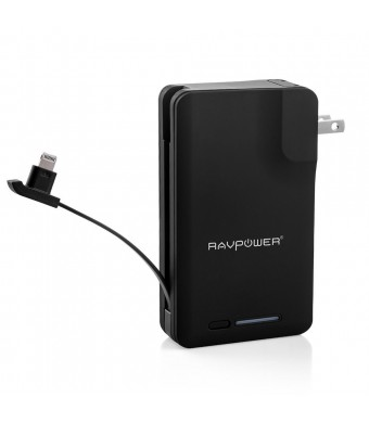 [Apple MFI Certified] RAVPower Portable Charger Savior 9000mAh External Battery Pack Power Bank Built-in Apple Lightning Connector with AC Plug, iSma