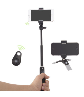 Gorilla Gear TM Complete Selfie Kit - Monopod, Mini Tripod, Camera Remote Shutter Button, Unique Holder - Portable Traveller Edition for Sports and G