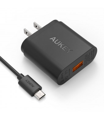 [Qualcomm Certified] Aukey Quick Charge 2.0 18W USB Turbo Wall Charger Fast Charger for Samsung Galaxy S6, S6 Edge and more (Included an 20AWG 3.3ft