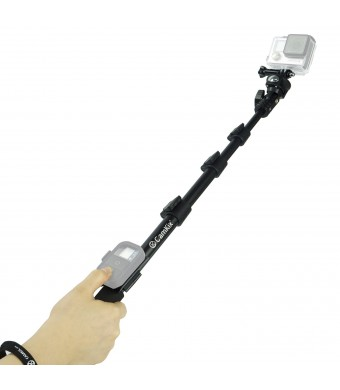 """CamKix Premium Telescopic Pole 16""""  - 47""""  - For use with GoPro Hero 4, 3+, 3, 2; Compact Cameras; and Cell Phones - With Cradle for Wifi Remote - Ex"""