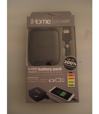iHome 4400 mAh Universal Power Bank - Retail Packaging - Black