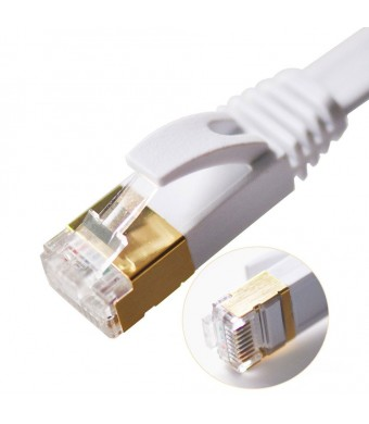 Vandesail CAT7 High Speed Computer Router Gold Plated Plug STP Wires CAT7 RJ45 Ethernet LAN Networking Cable Professional Gold Headed Network Cable H