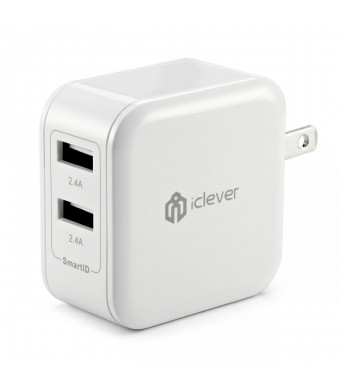 [Most Powerful] iClever4.8A 24W Dual USB Travel Wall Charger with SmartID Technology, Foldable AC Plug for Apple iPhone iPad iPod, Samsung Galaxy, HT