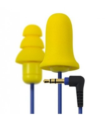 Plugfones Contractor Yellow New and Improved Line Ear Plug Earbuds Headphones with Silicone and Foam Hearing Protection