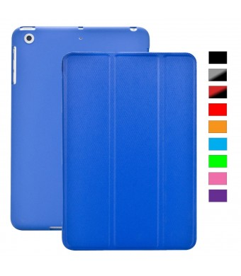 KHOMO iPad Mini / Mini Retina / Mini 3 Case (Released 2014) - DUAL Dark Blue Super Slim Twill Texture Cover with Rubberized back and Smart Feature (B