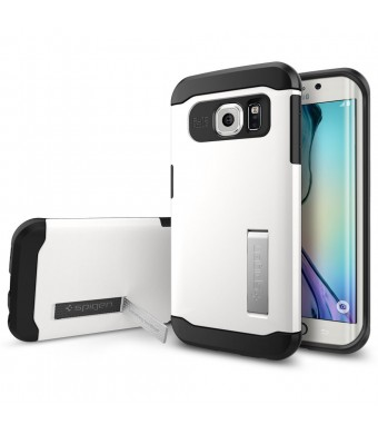 Galaxy S6 Edge Case, Spigen [AIR CUSHION] Slim Armor Case for Samsung Galaxy S6 Edge [KICK-STAND] - Shimmery White (SGP11424)