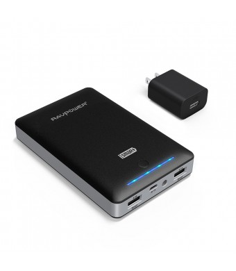 RAVPower Portable Charger Deluxe 13000mAh External Battery Pack Power Bank with iSmart Technology (5V / 4.5A, Dual Port, FREE 2A adapter, Multiple-Pr