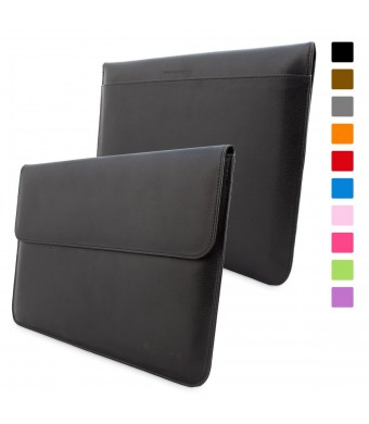 Snugg™ MacBook 12 Inch Case - Leather Sleeve with Lifetime Guarantee (Black) for Apple MacBook 12 with Retina