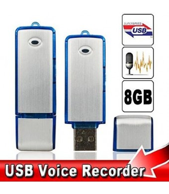 #1 Bestseller 2015 USB Digital Voice Recorder Device Plus 8 Gb Flash Drive - Best Small Sound Recorder - Spy Voice Recorder -Use As Dictaphone - Wind