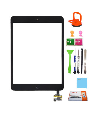 Wefix Black iPad Mini Touch Screen Digitizer Complete Assembly with IC Chip and Home Button replacement andtool kit