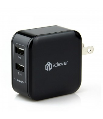 [Most Powerful] iClever 4.8A 24W Dual Port USB Travel Wall Charger with SmartID Technology, Foldable AC Plug for Apple iPhone 6 Plus, 6, 5S, 5C, 5, 4