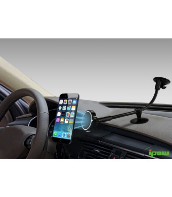 Ipow Universal Strong Magnetic Cradle-less Windshield Dashboard Long Arm Car Mount Holder Cradle for Iphone 6 Plus (6+), 6, 5s 5 4s, Galaxy S5 S4 S3,