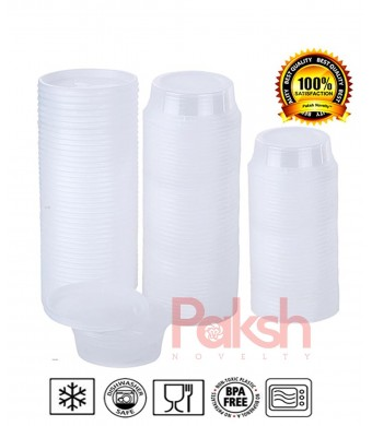 Paksh Novelty Plastic Containers for Lunch / Small Food Containers with Lids, Leak Proof, Microwavable, Freezer and Dishwasher Safe, 8 Ounce, 40 Pack