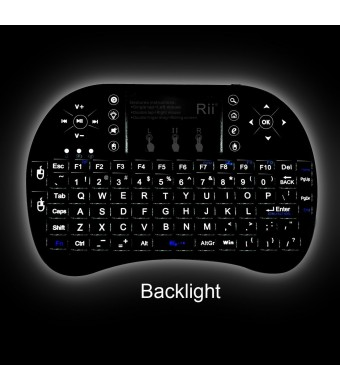 (Updated 2015,With Backlit)Rii i8+ 2.4GHz Mini Wireless Keyboard with Touchpad Mouse ,LED Backlit, Rechargable Li-ion Battery, Soft Silicone button ,