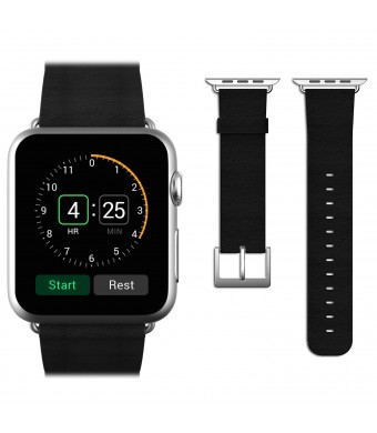 Apple Watch Band, JETech 38mm Genuine Leather Strap Wrist Band Replacement w/ Metal Clasp for Apple Watch All Models 38mm (Leather - Black)